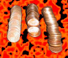 Beim Geldrolleneffekt schieben sich die scheibchenförmigen roten Blutkörperchen  wie die Münzen eines Münzstapels übereinander